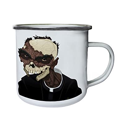 Zombie Priest Skull Rétro, étain, émail tasse 10oz/280ml y384e