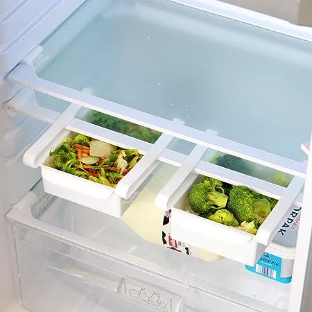 Pukkr Paquete de 4 cajones de caja de almacenamiento para refrigerador | Frigorífico Bandeja De Frutas Y Verduras | Compartimentos adicionales universales: Amazon.es: Hogar