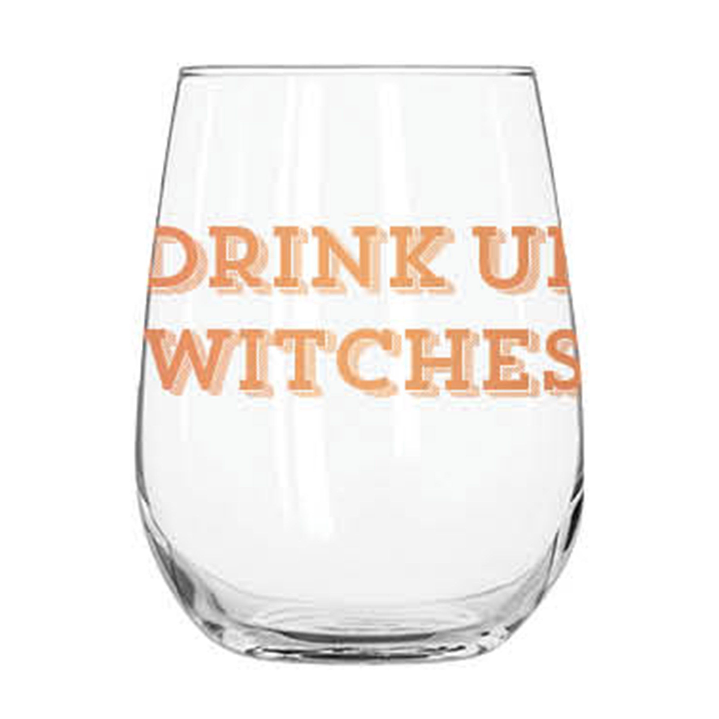 C.R. Gibson 12 Ounce, Acrylic, Stemless Wine Glass Singles, Perfect Gift, Hand Wash- Drink Up Witches