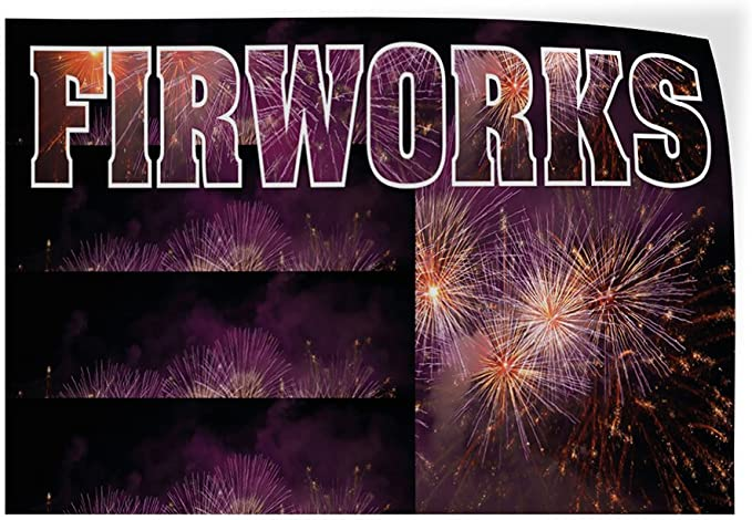 Decal Sticker Sparklers Retail Fireworks Outdoor Store Sign Black-45inx30in