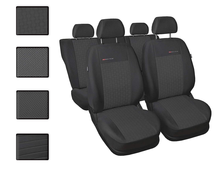 Nero e Grigio Coprisedili/Auto Universale Anteriori e Posteriori Copri-Sedile con Airbag Sistema Elegance P4
