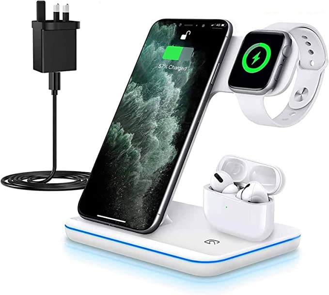 Amazon Com Kkm Wireless Charger 3 In 1 Qi Certified Fast Wireless Charging Station Compatible With Iphone 12 12 Pro 12 Pro Max 11 11 Pro Max X Xs Max 8 Charging Stand Dock For Apple Watch Series Airpods Pro