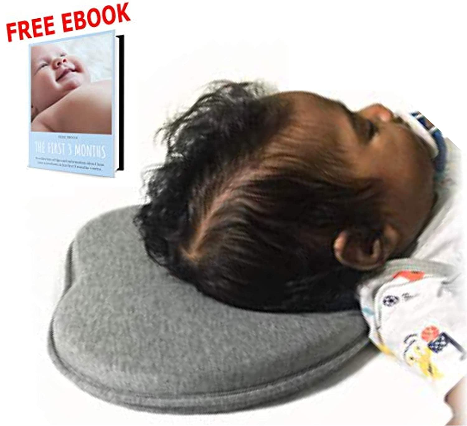 Free EBOOK Baby Head Shaping Pillow for Newborn Infant Neck Support Prevent Flat Head Syndrome,Plagiocephaly,Brachycephaly and Torticollis Memory Foam 100/% Organic Cotton Hypoallergenic