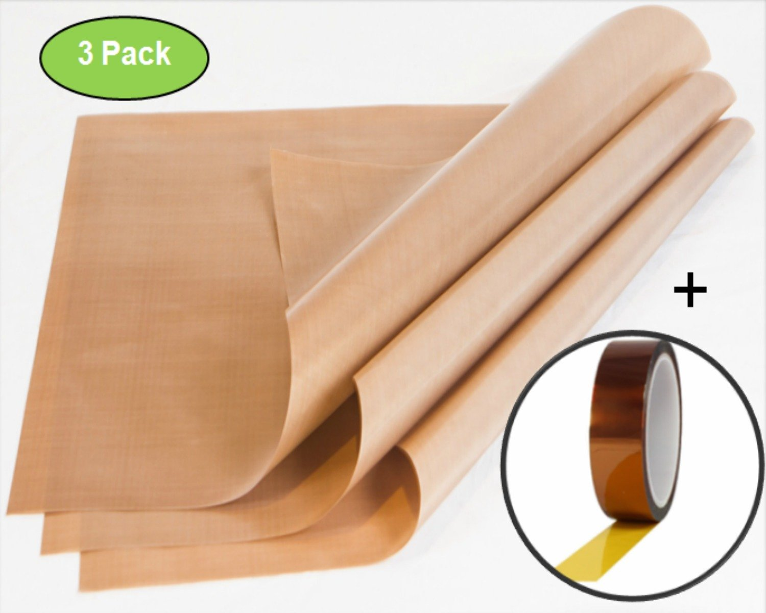 Zuitcase 3-Pack Brown Telfon Sheet AND Heat Resistant Tape for Heat Press Sublimation Bundle by Zuitcase