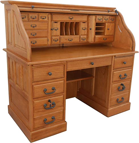 Roll Top Desk Solid Oak Wood