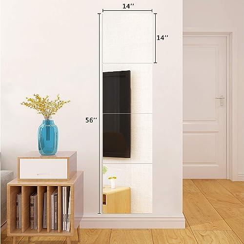 Full Length Wall Mirrors Tiles 14Inch x 4Pcs Frameless Body Gym Mirror Set Makeup Mirror Self Adhesive