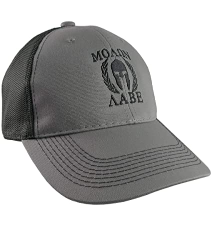 96a6a592 Amazon.com: Molon Labe Spartan Warrior Mask in Laurels Black Embroidery on  an Adjustable Grey and Black Structured Truckers Style Snapback Ball Cap:  ...