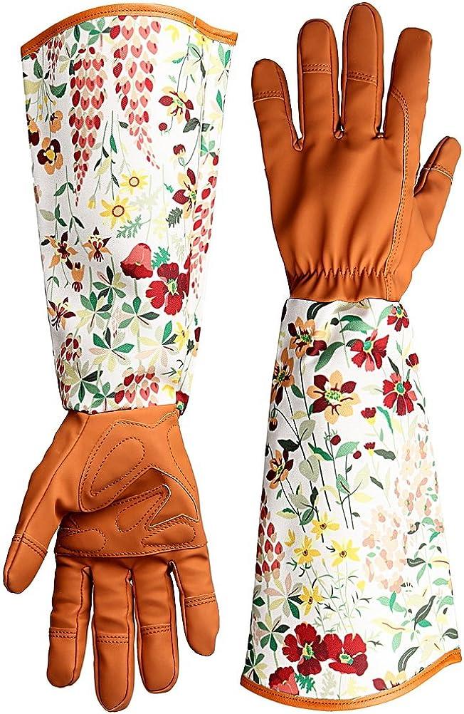 kuou guantes de jardín de cuero a prueba de espinas, mangas de impresión floral, guantes de trabajo de brazo largo para mujeres