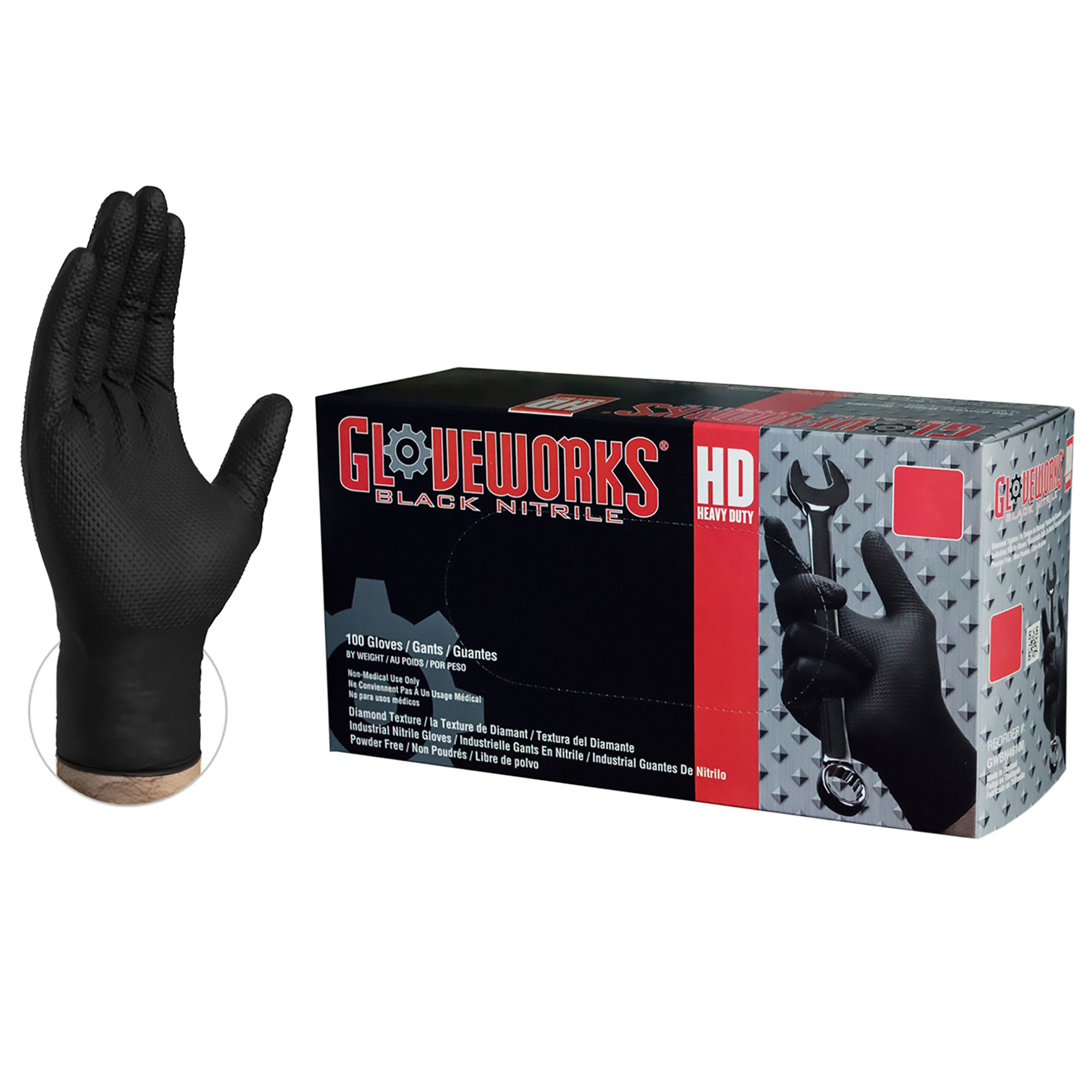 AMMEX Nitrile Gloves – Gloveworks – HD, Disposable, Powder Free, Latex Rubber Free, 6 mil, Large