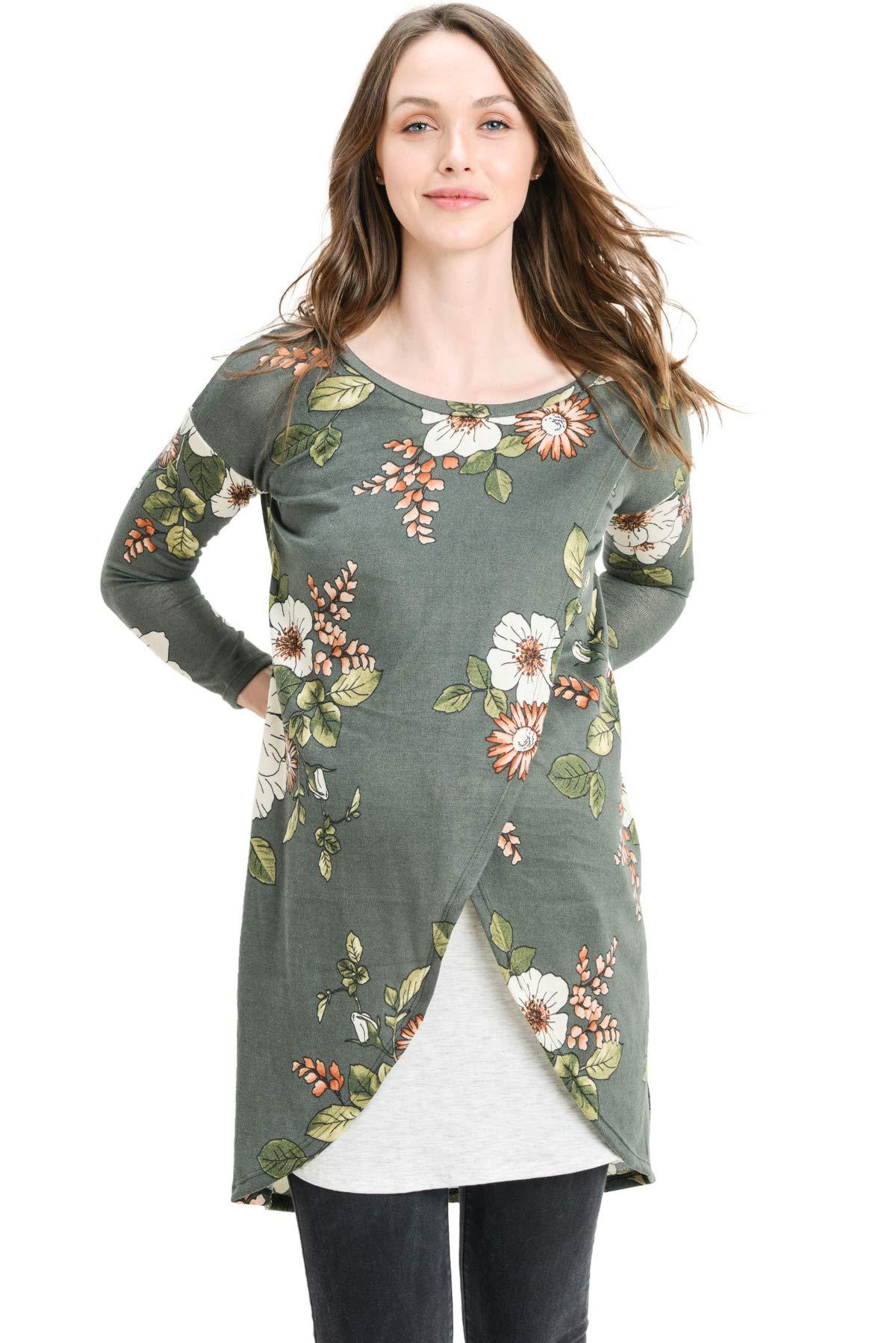 Hello MIZ Women's Sweater Knit Long Sleeve Maternity Nursing Tunic Dress (Olive Flower/Grey, L)
