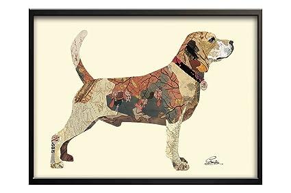 KunstLoft® 3D collage del arte imagen Beagle en movimiento 32x24inches | Decoración vintage