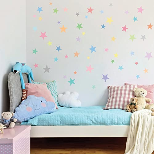 Pastel Rainbow Stars Wall Decals Multi Sized 5 Point Star Decals Matte Peel  And Stick Eco