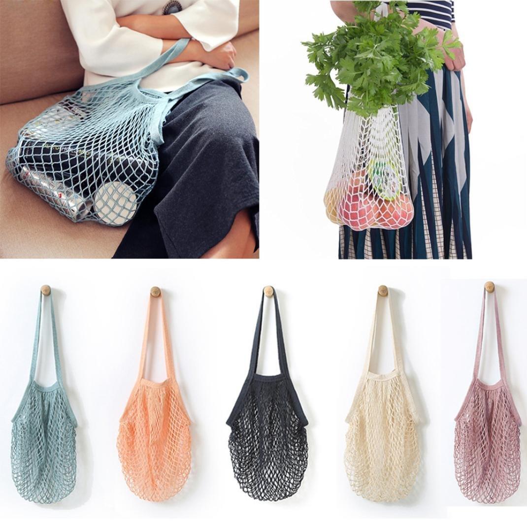 Sinwo Reusable Fruit String Grocery Shopper Tote Mesh Woven Net Shoulder Bag Handbag Convenient Shopping Mesh Bag (White)