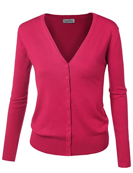 BIADANI Women Button Down Long Sleeve Soft V-Neck Cardigan Sweater ...