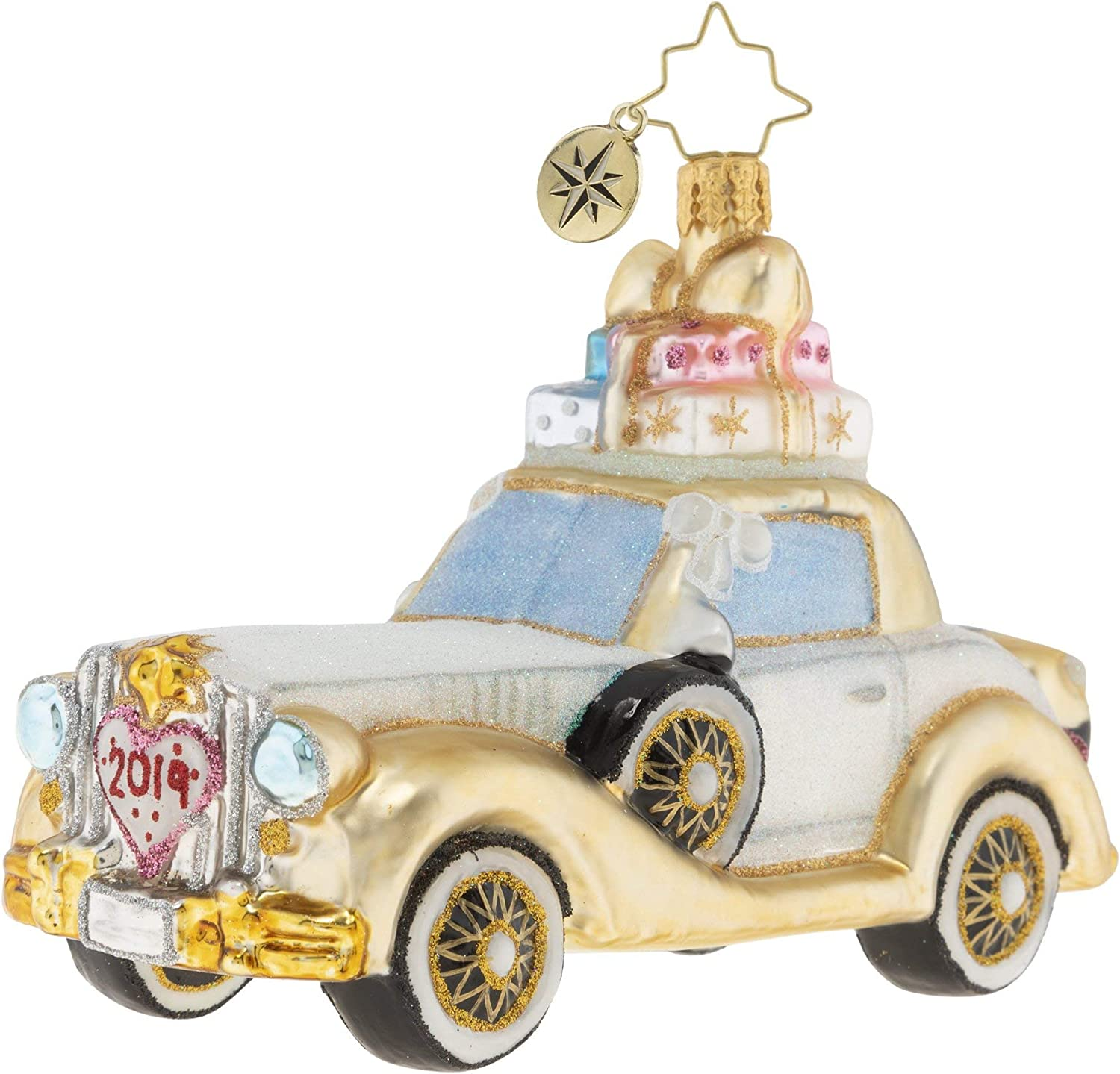 Christopher Radko Hand-Crafted European Glass Christmas Decorative Figural Ornament, Wedding Bliss Chariot