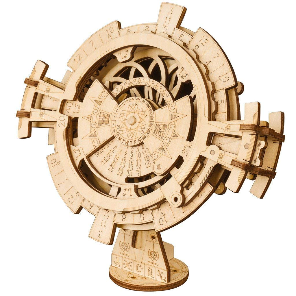 3D Wooden Puzzle Mechanical Model Perpetual Calendar Handmade Assembly Toy Wooden Creative Gift Suitable for Teenagers and Adults