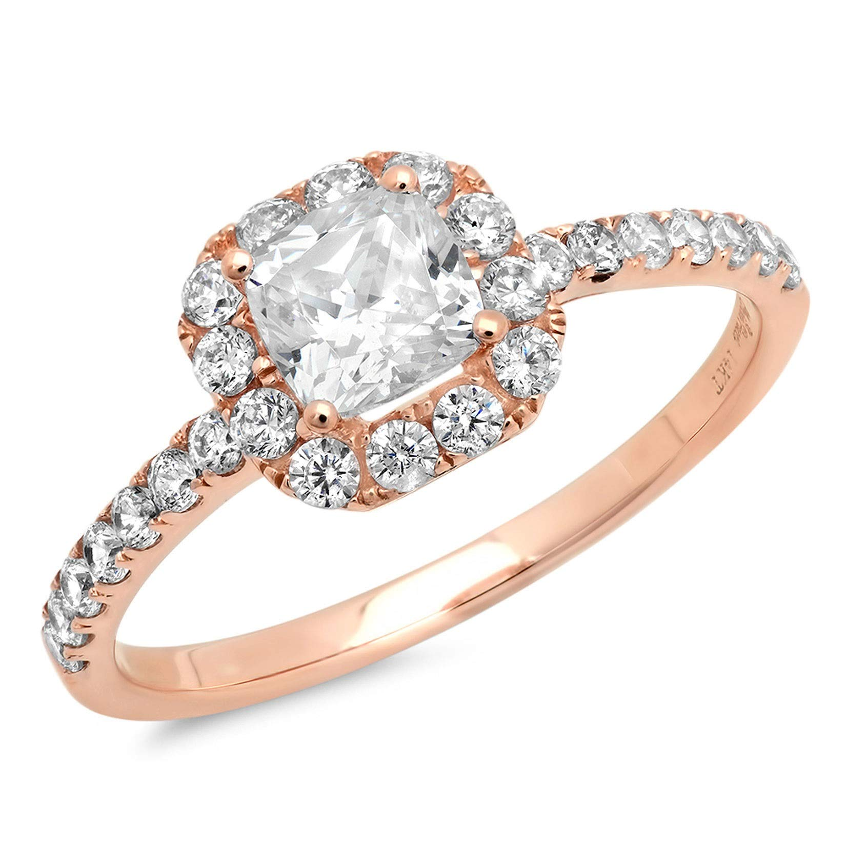 1.37ct Brilliant Princess Cut Solitaire with accent Highest Quality Moissanite Ideal VVS1 D & Simulated Diamond Designer Modern Statement Ring Solid 14k Rose Gold, Size 11 by Clara Pucci