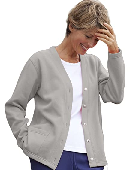 National Lightweight Fleece Cardigan, Heather Gray, Petite XL at ...