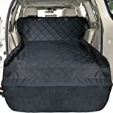 F-color Waterproof Pet Cargo Cover Dog Seat Cover Mat for SUVs Sedans Vans with Bumper Flap Protector, Non-Slip, Large…