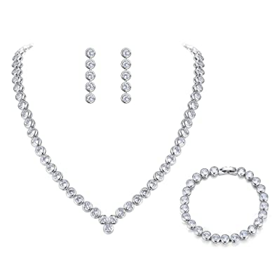 c9fb2e6c24b1b BriLove Women's Wedding Bridal Cubic Zirconia Multi Round Cut Bezel Set  Collar Necklace Tennis Bracelet Dangle Earrings Set Clear Silver-Tone