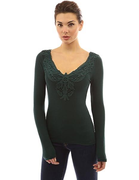 PattyBoutik Mujer la Inserción del Cordón v Crochet Cuello Manga Larga Blusa (Verde Oscuro 40