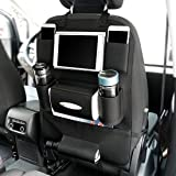 JMD GLOBAL SALES - PU Leather Car Auto Seat Back Multi Pocket Organizer with iPad Mini Holder Backseat Hanger Accessory (Black)