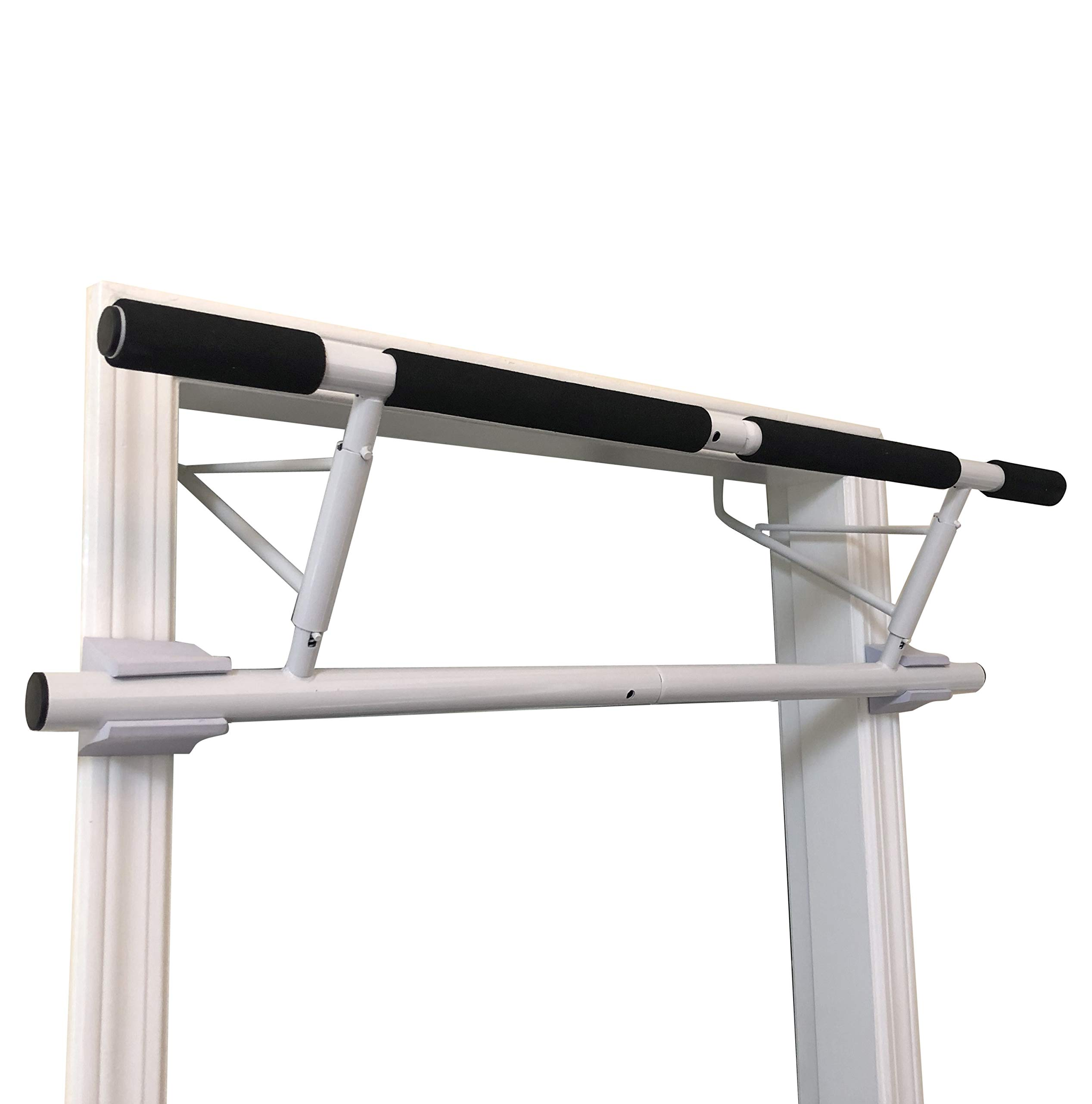 SHAMROCK TRIPLE GYM Pull Up Bar, No Assembly Required, Folds Flat & Comes Apart for Travel Or Storage, USA Shipping and Warranty (White)