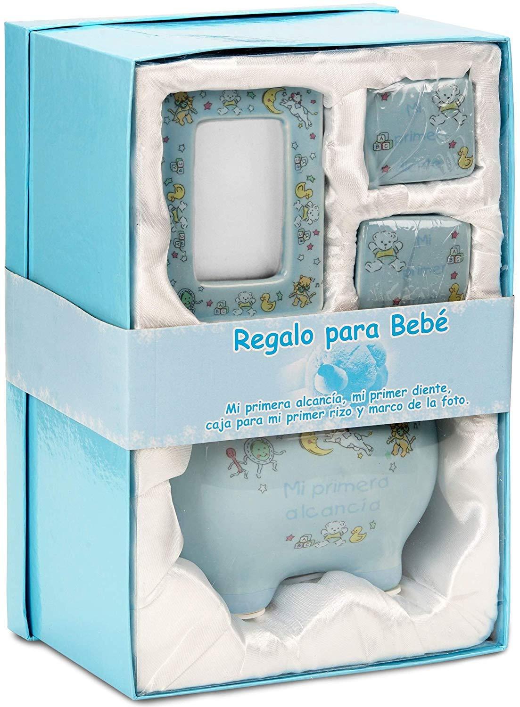 BRUBAKER Regalo para Bebé niño Mi primera alcancía con caja para mi primer diente, caja para mi primer rizo y marco de la foto - Azul claro - Alemán: ...