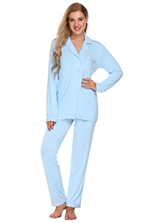 Jingjing1 Womens Long Sleeve Ultra-Soft Button Front Loungewear Top and  Pants (Light Blue afdb6908f