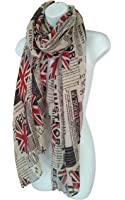 Newspaper Print Scarf UK Flag Union Jack Womens London Fashion