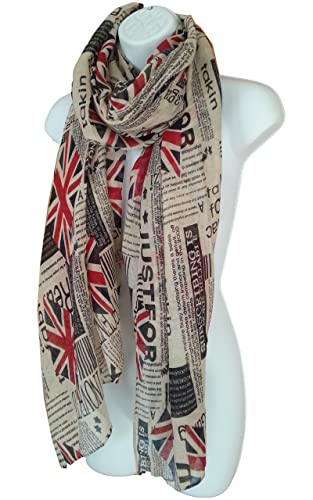 Bufanda con Estampado de Periodicos Bandera Britanica para Mujeres Moda Londres