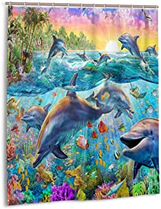LSJZ Tropical Dolphins Bathroom Home Shower Curtain Fabric Shower Room Decoration Waterproof Polyester 60x72 Inches
