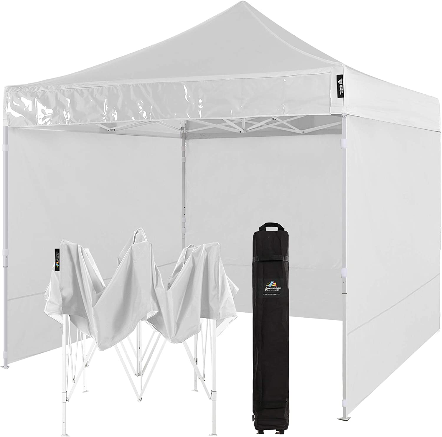AMERICAN PHOENIX Canopy Tent 10x10 Easy Pop Up Outdoor Canopies Folding Instant Shelter Sunshade with 4 Removable Sidewalls (White)