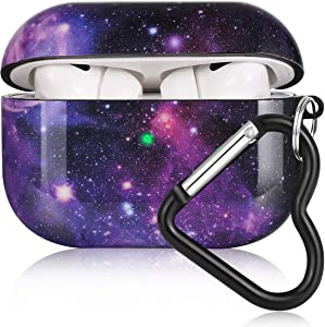 Airpods Pro Case, Olytop Galaxy Airpods Pro Protective Case Cover Printed Hard Skin Women Girl for Apple Airpods 3 Charging Case with Heart-Shaped Keychain AirPods Pro Accessories Set - Galaxy