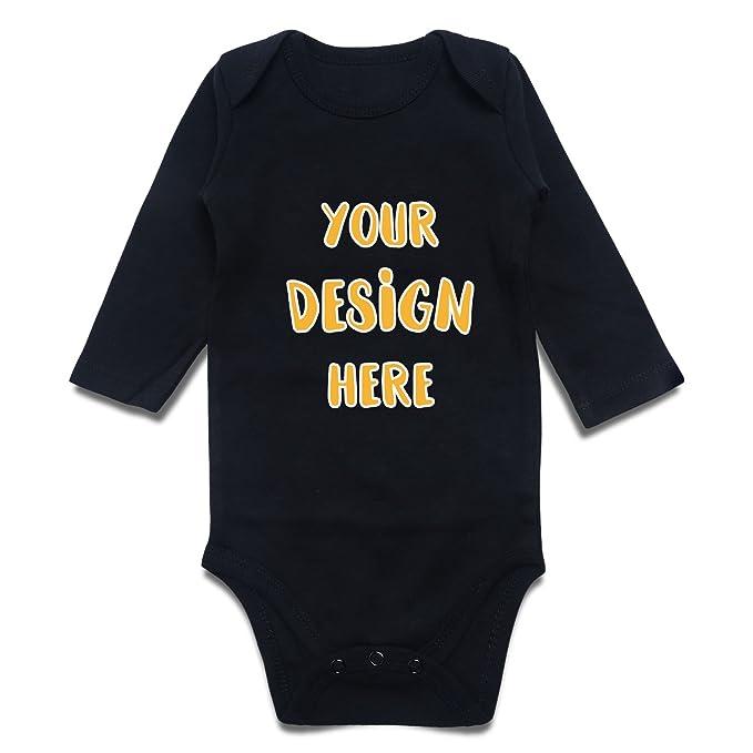 0c874780a310 Custom Pinted Personalized Onesies Unisex Baby Bodysuit (0-3M, Black Long)
