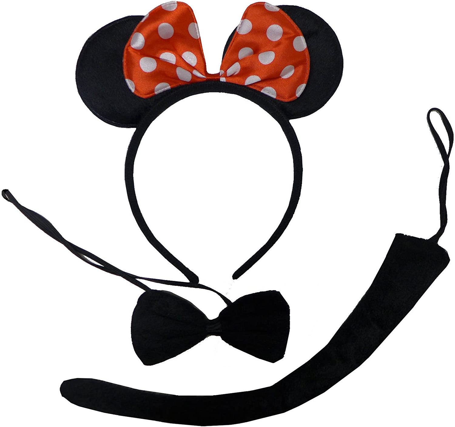 Plush Minnie Mouse Ears Bow /& Tail Black Red White Fancy Dress Set Adult Child