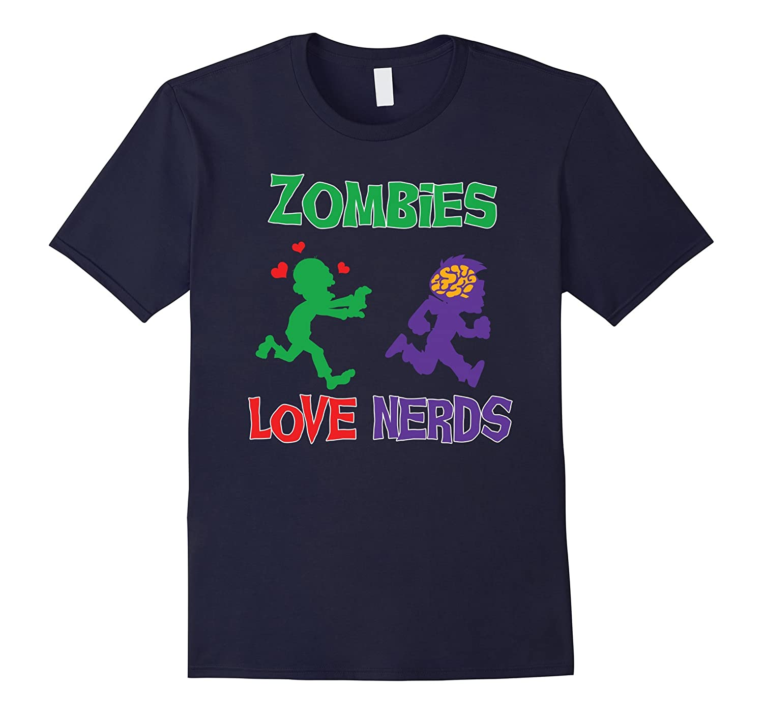 Zombie Geek T-shirt by Zany Brainy  Zombies Love Nerds-TH