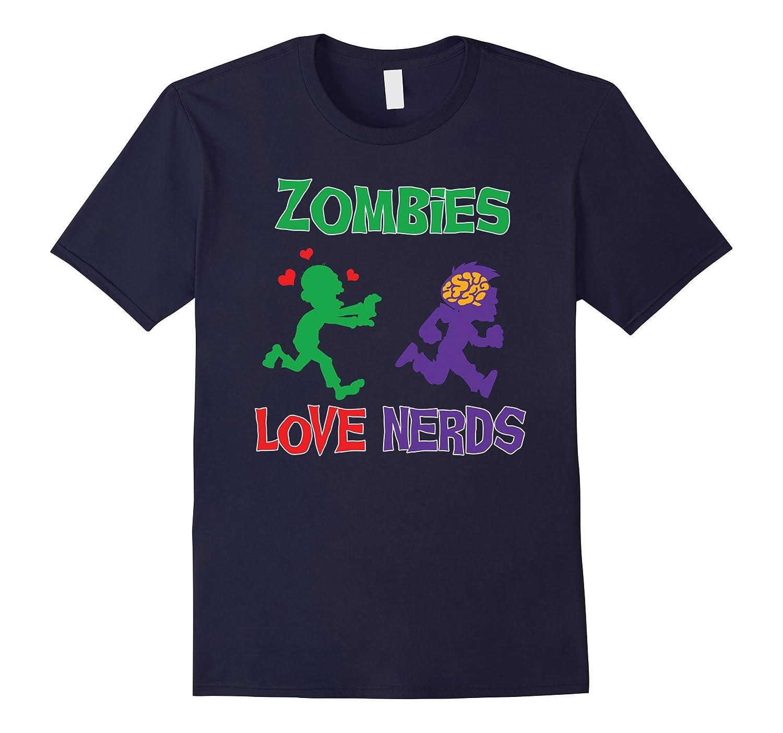 Zombie Geek T-shirt by Zany Brainy  Zombies Love Nerds-TH