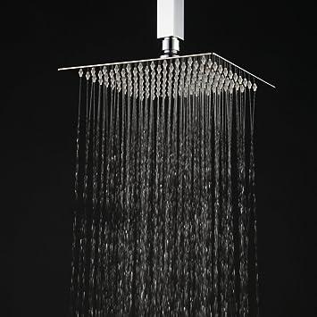 Hiendure® 12 Inch High Pressure Ultra Thin 304 Stainless Steel Square Rain  Shower Head
