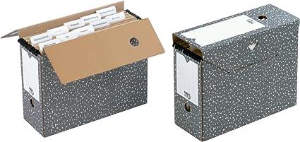 Nips - Cajas de archivo para carpetas colgantes (10 unidades, 12 x 33,5 x 27,5 cm), color gris y blanco: Amazon.es: Oficina y papelería