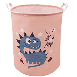 Coral & Blue Dinosaur Laundry Hamper 19.7 Inch,ZUEXT Waterproof Dirty Clothes Hamper, Foldable Canvas Toys Storage Bins,Dino Gift Basket for Boys Kids Girls Bedroom Baby Nursery(Let's Play)