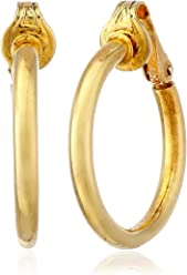 d9737320cb Simple Shiny Clip On Tube Hoop Earrings For Women Non Pierced Ears 14k Gold  Plated 925