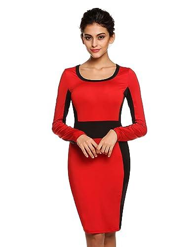 FINEJO Women's Long Sleeve Scoop Neck Mini Dress