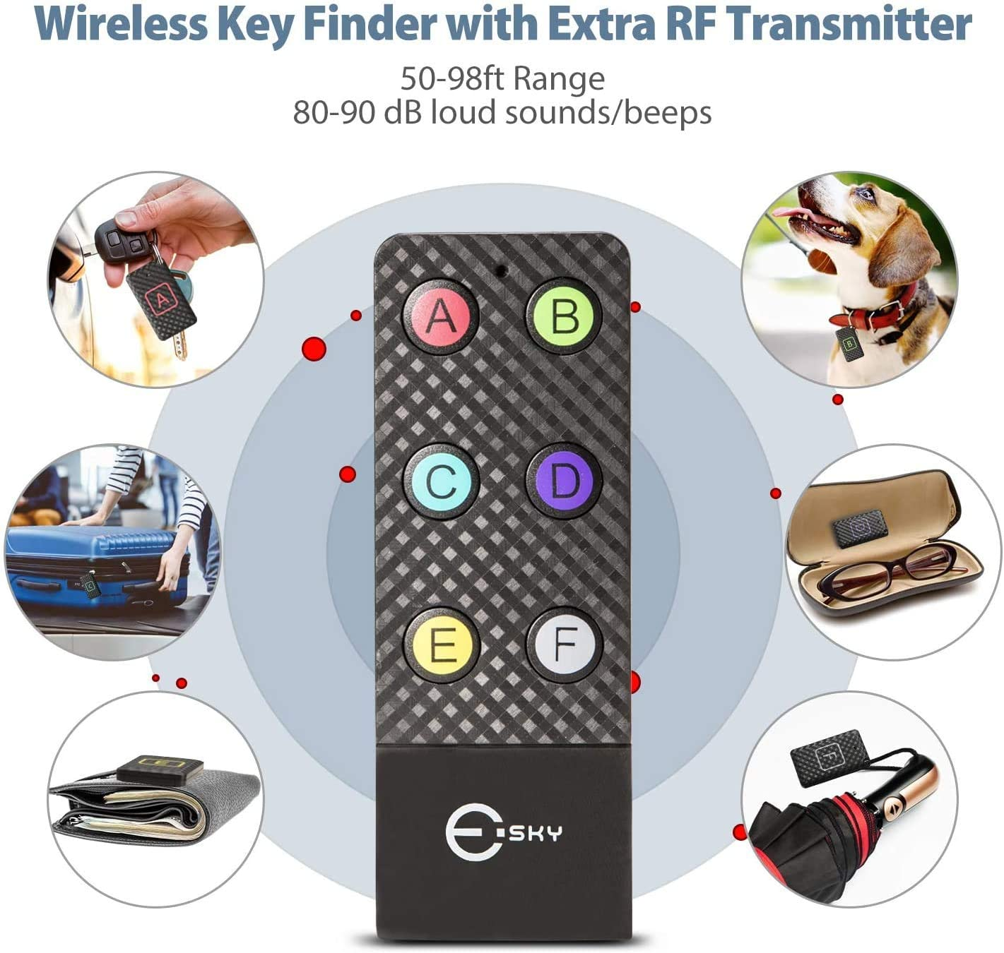 Wireless Key RF Locator Esky Key Finder with Extra Backup RF Transmitter Pet Tracker Wallet Tracker Wireless RF Item Locator Item Tracker Support Remote Control,2 RF Transmitter and 6 Receivers