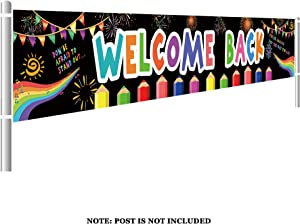 Large Welcome Back Banner, Classroom Pennants, First Day of School, Teacher Banner, Back to School Decor, Welcome Banner (9.8 x 1.5 feet)