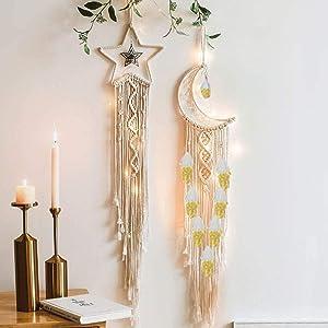2 Pcs Woven Tassel Wall Hanging Tapestry Moon Star Macrame Dream Catcher Handmade Bohemian Home Decor for Wedding Kids Baby Bedroom Craft Gift with 10 Feet Led Light String