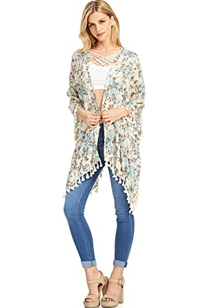 7a798b7569a Aakaa Women s Vintage Style Floral Kimono Cardigan (S