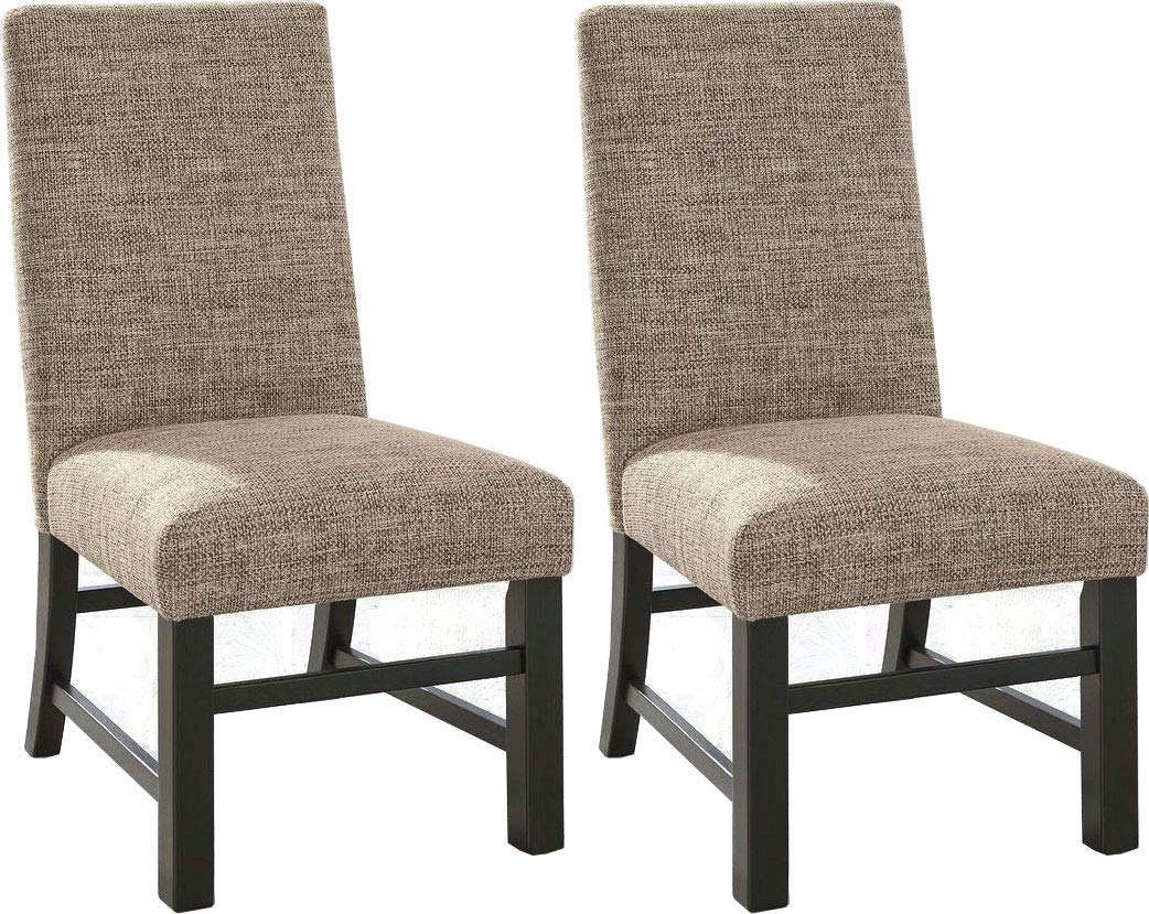 Ashley Furniture Signature Design - Sommerford Dining Side Chair - Set of 2 - Casual - Brown Upholstery - Black Wood Frame by Signature Design by Ashley