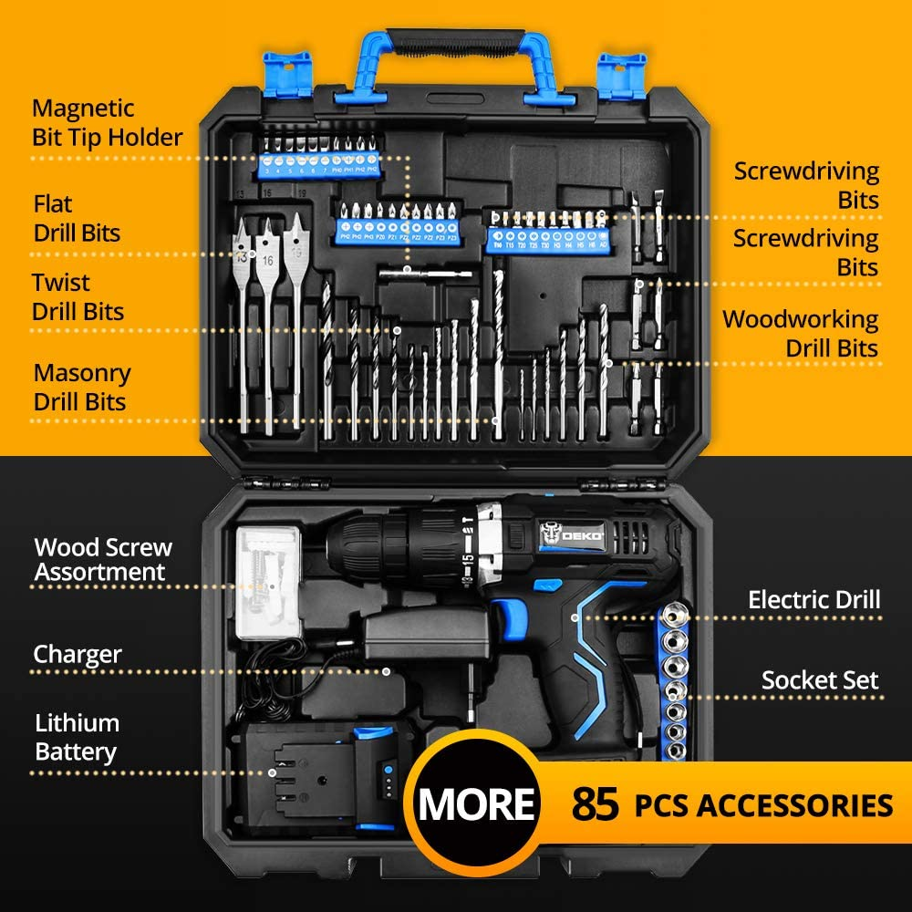 DEKO 18 v Perceuse sans fil Au Lithium Chargeur De Batterie Chargeur