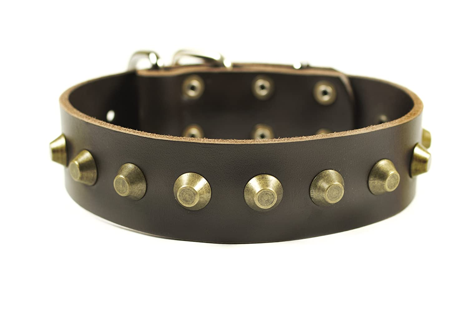 Dean and Tyler SIMPLY STUNNING , Leather Dog Collar with Nickel Hardware Brown Size 18-Inch by 1-1 2-Inch Fits Neck 16-Inch to 20-Inch